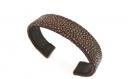Bracelet manchette cuir de galuchat taupe