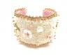 Bracelet manchette dentelle,nacre et perles de verre dorées