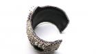 Bracelet vert large manchette onyx  et agate broderie de perles de verre