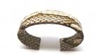 Bracelet manchette fine cuir de python beige