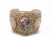 Bracelet manchette jaspe léopard et quartz rose