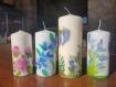 Bougies décorées à la main avec peinture