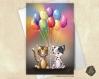Carte de voeux  fête des mères chiot et chaton ballons amitié anniversaire