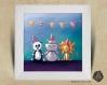 Cadre carré 25x25 cadeau naissance avec illustration panda lion & hippopotame pour chambre enfant bébé