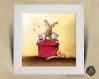 Cadre carré 25x25 cadeau naissance avec illustration cadeau bébé renne pour chambre enfant bébé