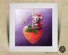 Cadre carré 25x25 cadeau noël avec illustration koala et coeur noël pour chambre enfant bébé
