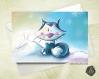Carte de voeux  fête des mères noël nouvel an renard polaire et lapins
