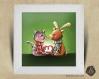 Cadre carré 25x25 cadeau naissance avec illustration chaton et renne pour chambre enfant bébé