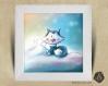 Cadre carré 25x25 cadeau naissance avec illustration renard polaire et lapins pour chambre enfant bébé