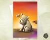 Carte de voeux  fête des mères anniversaire rhino dans la savane