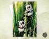 Carte de voeux  fête des mères amitié anniversaire naissance pandas et bambous