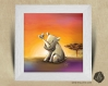 Cadre carré 25x25 cadeau naissance avec illustration bébé rhinocéros et papillon pour chambre enfant bébé