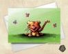 Carte de voeux  fête des mères bébé tigre et papillons