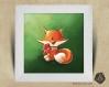 Cadre carré 25x25 cadeau naissance avec illustration petit renard pour chambre enfant bébé