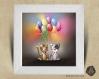 Cadre carré 25x25 cadeau naissance avec illustration chiot, chaton et ballons pour chambre enfant bébé