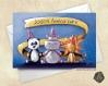Carte de voeux ou invitation joyeux anniversaire panda lion & hippopotame