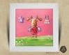 Cadre carré 25x25 cadeau naissance avec illustration petit renne et papillons pour chambre enfant bébé