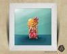 Cadre carré 25x25 cadeau naissance avec illustration hamster des îles pour chambre enfant bébé
