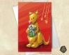 Carte de voeux  fête des mères noël nouvel an anniversaire kangourou et cadeau