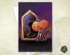Carte de voeux chat citrouille d'halloween