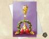 Carte de voeux noël nouvel an girafe et couronne