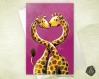 Carte de voeux amitié saint-valentin mariage girafes