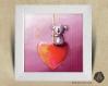 Cadre carré 25x25 cadeau naissance avec illustration koala et coeur pour chambre enfant bébé