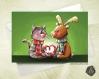Carte de voeux noël saint-valentin chaton et renne amoureux