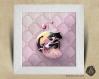 Cadre carré 25x25 cadeau naissance  avec illustration chaton princesse pour chambre enfant bébé