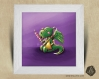 Cadre carré 25x25 cadeau naissance avec illustration bébé dragon et chamallows pour chambre enfant bébé