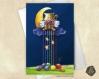 Carte de voeux  fête des mères amitié saint-valentin lune et pelotes arc-en-ciel illustration originale