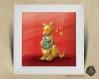 Cadre carré 25x25 cadeau naissance avec illustration kangourou et cadeau de noël pour chambre enfant bébé