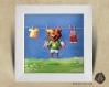Cadre carré 25x25 cadeau naissance avec illustration tigre ange pour chambre enfant bébé