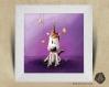 Cadre carré 25x25 cadeau naissance avec illustration bébé licorne magique pour chambre enfant bébé