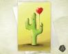 Carte de voeux  fête des mères amitié saint-valentin cactus et son ballon