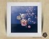 Cadre carré 25x25 cadeau naissance avec illustration chaton geisha japonais pour chambre enfant bébé