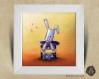 Cadre carré 25x25 cadeau naissance avec illustration lapin et chapeau magique pour chambre enfant bébé