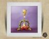 Cadre carré 25x25 cadeau naissance avec illustration girafe et couronne de noel pour chambre enfant bébé