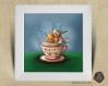 Cadre carré 25x25 cadeau naissance avec illustration rouge-gorge pause thé pour chambre enfant bébé