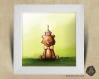 Cadre carré 25x25 cadeau naissance avec illustration petit ours et son cupcake bougie pour chambre enfant bébé