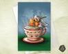 Carte de voeux  fête des mères noël nouvel an rouge-gorge pause thé