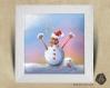 Cadre carré 25x25 cadeau naissance avec illustration loutre bonhomme de neige noël  pour chambre enfant bébé