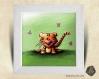 Cadre carré 25x25 cadeau naissance avec illustration tigre et papillons pour chambre enfant bébé
