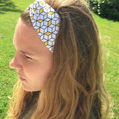 Bandeau motifs cubiques jaune et blanc