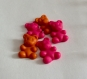 Petit oursons en pâte fimo, lot de 5. couleur rose; orange