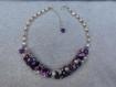 Collier perles naturelles / keshi camaïeu violet parme