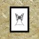 Poster papillon noir et blanc