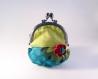 Porte monnaie fait main : vert bleu rose à fleur (n°151)