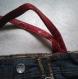 Sac à main simili cuir rouge et jean