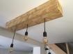 Plafonnier en bois de palette recyclé, 3 ampoules